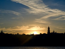Kiev Pechersk Lavra and evening sky Royalty Free Stock Images