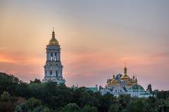 Kiev Pechersk Lavra. Us Pechersk Lavra Monastery shot at sunset in Kiev, Ukraine Stock Images