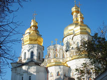 Kiev-Pecherskoy laurel. Golden dome in Kiev-Pecherskoy laurel Royalty Free Stock Images