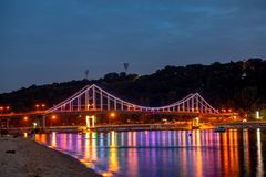 Kiev pedastrian bridge light Ukraine travel Europe. Vacation Stock Image