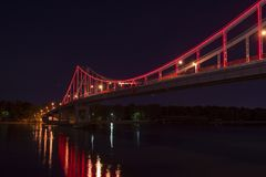 Nice Kiev pedestrian bridge lights travel city. Kiev pedestrian bridge lights travel city scape Stock Photos