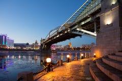 Kiev pedestrian bridge in Moscow Royalty Free Stock Image