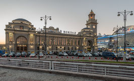 Kiev railway station of Moscow in the twilight. Stock Image