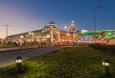 Kiev railway station of Moscow in the twilight. Stock Photos