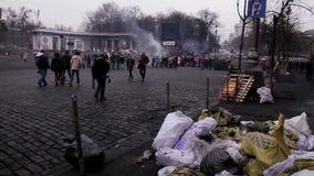 Kiev after the revolution. 27.02.2014. Kiev, Ukraine, Independence Square stock video
