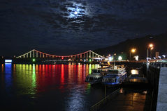 Kiev River Port and Pedestrian bridge at night Royalty Free Stock Photo