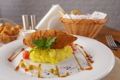 The Kiev`s cutlets. Chicken breast, butter, served with mashed potatoes stock photography