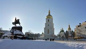 Kiev, Saint Sophia square. Kiev, Saint Sophia Cathedral and Monument Hethman Bogdan Khmelnitsky Stock Photo