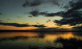 Kiev Sea. Sunset on the river Dnipro, Kiev, Ukraine stock image