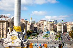 Kiev sikt av självständighetfyrkanten från above_ arkivbilder