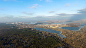 Kiev from the sky. Lake. Ukraine. Aerial photography of the lake in Kiev by drone Royalty Free Stock Images