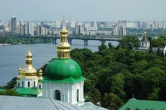 Kiev skyline and church of Kiev-pechersk lavra Royalty Free Stock Image