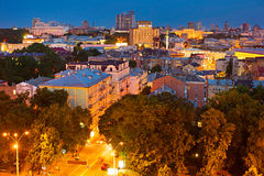 Kiev skyline at dusk. Ukraine Stock Photo