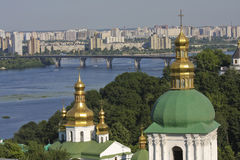 Kiev skyline and monastery Royalty Free Stock Photography