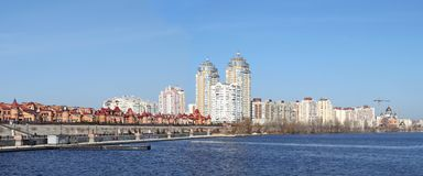 Kiev skyline and reflection on the river Dnipro Royalty Free Stock Images
