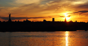 Kiev skyline at sunset Stock Photography