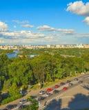 Kiev skyline traffic aerial Dnipro stock photo