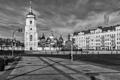 Kiev Sophia Cathedral. Saint Sophia Church and Bohdan Khmelnytsky statue in Kiev, Ukraine Royalty Free Stock Photo