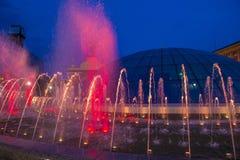 Kiev springbrunnar på Maidan Nezalezhnosti Royaltyfria Foton