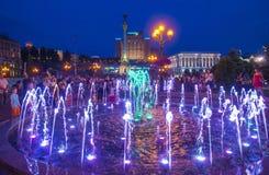 Kiev springbrunnar på Maidan Nezalezhnosti Royaltyfri Bild