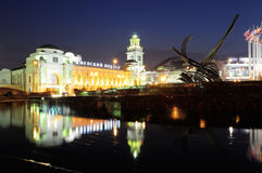 Kiev station and fountain Rape of Europe in Moscow at night Stock Images