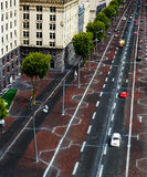 Kiev street Khreshchatyk top view. Roadway with cars Royalty Free Stock Images