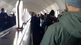 Kiev subway escalator with people stock footage