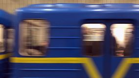 Kiev subway train arriving at underground station stock video