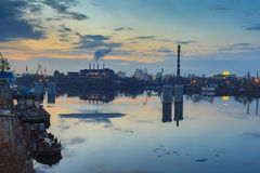 Kiev. Sunset. Industrial area on the banks Royalty Free Stock Photography