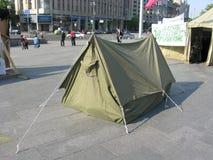 kiev Tältstaden till fyrkanter av självständighet (Maidan Nezalezhn Arkivbild