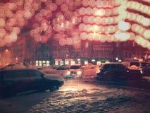 Kiev, temps neigeux en Lev Tolstoy Square images stock