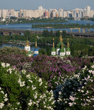 Kiev top view during lilac blossom Royalty Free Stock Images