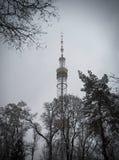 Kiev TV Tower. In the snowy haze Stock Photo