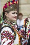 Kiev, Ucrânia - 24 de agosto de 2013 celebração do Dia da Independência, mulher na roupa étnica Foto de Stock Royalty Free
