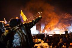 KIEV, UCRÂNIA - 24 de janeiro de 2014: Protestos antigovernamentais maciços Imagens de Stock Royalty Free