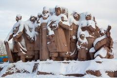 Kiev, Ucrânia - 18 de janeiro de 2018: Monumento que simboliza a amizade entre os russos e os povos ucranianos erigidos em 1982 foto de stock royalty free
