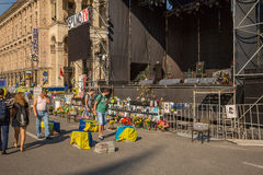 KIEV, UCRÂNIA 24 DE JULHO: Maidan Nezaleznosti 24, 2014 em Kiev, U Foto de Stock Royalty Free