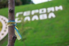 Kiev, Ucrânia - 22 de maio de 2016: Fita nas cores do nacional Foto de Stock
