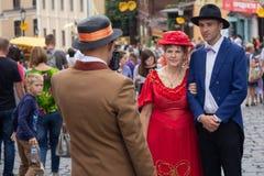 Kiev, Ucrânia - 9 de setembro de 2018: Atores no vestuário retro na celebração do dia da descida do ` s de St Andrew foto de stock royalty free