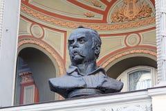 Kiev, Ucrânia - 14 de setembro de 2015: Busto de Taras Shevchenko em Opera nacional ucraniano foto de stock