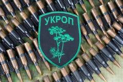 KIEV, UCRÂNIA - julho, 08, 2015 Crachá uniforme não oficial do exército de Ucrânia Fotos de Stock