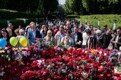 KIEV, UCRÂNIA - possa 09, 2015: As faixas militares marcham no dia do 70th aniversário da vitória sobre o nazismo em Kiev Fotos de Stock