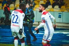 KIEV, UCRÂNIA - 12 de dezembro de 2018: Nabil Fekir comemora o objetivo marcado durante a harmonia do UEFA Champions League entre imagens de stock royalty free