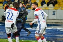 KIEV, UCRÂNIA - 12 de dezembro de 2018: Nabil Fekir comemora o objetivo marcado durante a harmonia do UEFA Champions League entre foto de stock royalty free