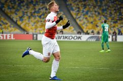 KIEV, UCR?NIA - 29 de novembro de 2018: Emile Smith Rowe comemora o objetivo marcado durante a harmonia do UEFA Europa League ent fotografia de stock