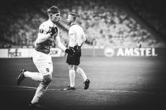 KIEV, UCR?NIA - 29 de novembro de 2018: Emile Smith Rowe comemora o objetivo marcado durante a harmonia do UEFA Europa League ent imagens de stock