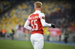 KIEV, UCR?NIA - 29 de novembro de 2018: Emile Smith Rowe comemora o objetivo marcado durante a harmonia do UEFA Europa League ent foto de stock