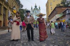 Kiev, Ucr?nia - 9 de setembro de 2018: Atores no vestu?rio retro na celebra??o do dia da descida do ` s de St Andrew fotografia de stock