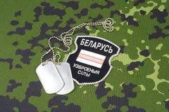 KIEV, UCRÂNIA - em agosto de 2015 O bielorrusso oferece-se no exército de Ucrânia Guerra 2014 - 2015 de Russo-Ucrânia Badg unifor Imagens de Stock