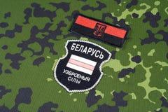 KIEV, UCRÂNIA - em agosto de 2015 O bielorrusso oferece-se no exército de Ucrânia Guerra 2014 - 2015 de Russo-Ucrânia Badg unifor Fotografia de Stock Royalty Free